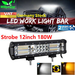 12inch 180w Strobe Led Work Light Bar White Amber Color For Car Off Road Suv 4wd