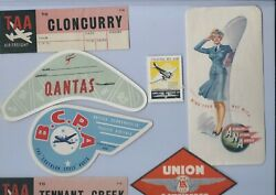 Australian/new Zealand Airlines  30s-60s Era Orig. Luggage Labels Lot Of 7