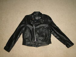 Vintage Dallas Leather Motorcycle Jacket Made In Usa Size 14 Womens