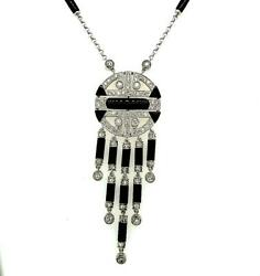 Black Onyx And Diamond 18kt White Gold Art Deco Reproduction Necklace 9.53ctw