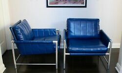 Vintage Mcm Mies Van Der Rohe Stainless Steel Tubular Leather Chairs Baughman