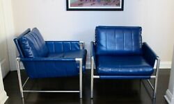 Vintage Mcm Mid Century Modern Stainless Steel Tubular Leather Chairs - A Pair