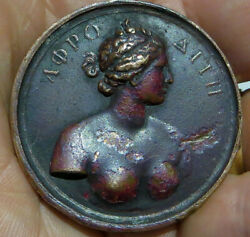 Antique Bronze Medal Nude Bust Of Aphrodite Eros On Shell By Bovy -scarce