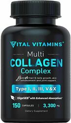 Multi Collagen Pills Types Iiiiiivx 150 Capsules 3300 Mg Grass Fed Coll...