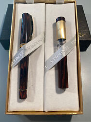 Visconti Voyager 30 Fountain Pen And Traveling Ink Pot Brand New 18k Fine Nib