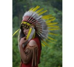 Indian Headdress Warbonnet Swan Yellow Small Fur Brown Native American Hat