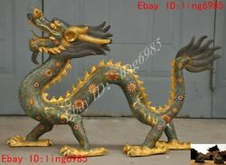 Chinese Bronze 24k Gilt Cloisonne Enamel Chinese Zodiacdragon Fengshui Statue