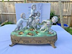 Antique Sevres Cherubs Putti Frolicking With Goat In Winery