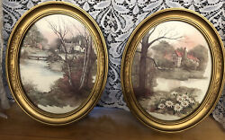 Vintage 2pair Of Cottage Pictures Gold Oval Embossed Frame Homco Home Interior
