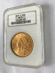 Liberty Head 20 Gold Coin Ngc 1875 S Ms 61 Double Eagle