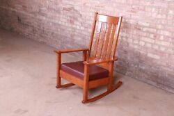 Stickley Brothers Antique Arts And Crafts Quarter Sawn Oak And Leather Rocking Cha