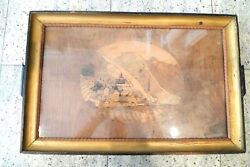 Vintage Multi Wood Inlay Serving Tray Under Glass W/ Picture Hanger For Display