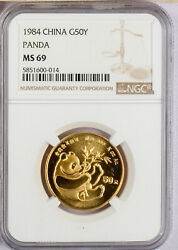 1984 China 1/2 Oz. 50 Yuan  Gold Panda Ngc Ms69