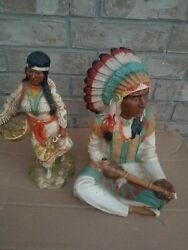 1980 Universal Statuary Native American Indian Chief And Girl ☆ Signed And Numbered