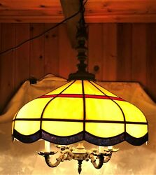 Antique/ Vintage Stained Glass Hanging Chandelier- 4 Arm Rewired