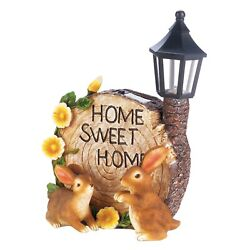 bunny Rabbits welcome yard sign outdoor statue LED path SOLAR powered light lamp