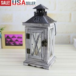 Vintage Moroccan Candle holder Wooden Windproof Lantern hanging Table Stand US