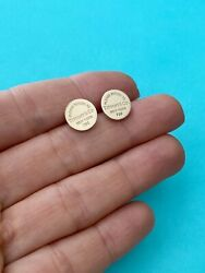And Co 18k Rose Gold Return To T Round Circle Stud Earrings. Retired