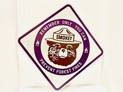 Original Only You Can Prevent Forest Fires Smokey Bear Sign - Rare Purple
