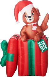 Christmas Santa Animated Puppy Dog Present Inflatable Airblown 5 Ft Gemmy