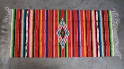 Vintage Mexico Southwest Ranch Wool Serape Rug Blanket Wall Hanging 36 X 80