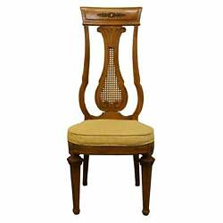 Thomasville Italian Style Carved Walnut Caned Back Dining Chairs- Set Of 4