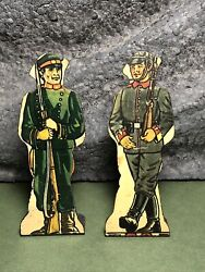 2 Lot | Vintage Marx | Flat Tin Soldiers | Russian Infantry And German Infantry