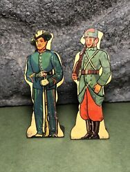 2 Lot | Vintage Marx | Flat Tin Soldiers | Italian Bersaglieri And French Infantry