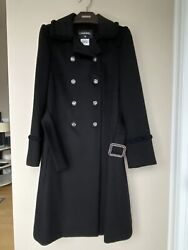 Mint 100auth Black Luxe 100 Cashmere Double Breast Belted Coat Size 36