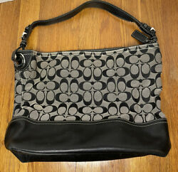 Coach Logo Canvas And Leather Handbag $19.99