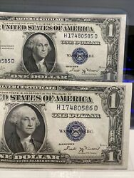 Top Rare 2 Of 1935b Us Dollar 1.00 Silver Certificates Consecutive Numbers Unc