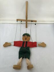 """Vintage Pinocchio Marionette Wooden 15"""" Tall Painted String Puppet Fabric Doll"""
