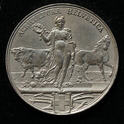 Switzerland,uniface Medal Agricultura Helvetica C.1880 By A. Bovy