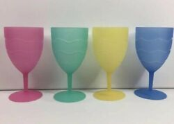 Set 4 Plastic Wine Cups Blue Pink Green Yellow 7 Outdoor Pool Party Picnic Bbq