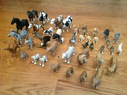 Schleich Germany Large Lot 40 Animal Figurines Horse Dog Lion Pig Cow Wolf Tiger