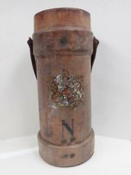 Rare 19th Century Leather Cordite Carrier British Royal Coat Arms Office Decor