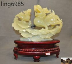 Rare China Natural Xiuyu Jade Hand-carved 2 Brave Troops Pixiu Wing Beast Statue