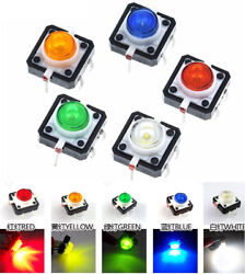 5 Colors Tactile Push Button Spst Switch Momentary 12x12x7.3mm With Led Lights