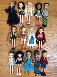 Original Bratz Doll 10 Inch Large Lot Of 14 Girl Boy Outfits Shoes Accessories