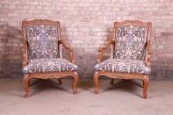 Baker Furniture French Provincial Louis Xv Ornate Carved Fauteuils, Pair