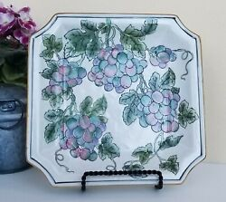 Andrea By Sadek Square Porcelain Plate Hand Painted Grapes And Gold Rim 1419
