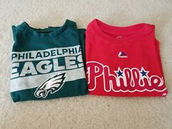 Set Of Officially Licensed Philadelphia Eagles And Phillies Kids T-shirts - Size