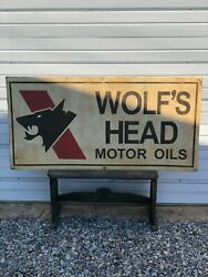 Wolfand039s Head Motor Oil Gas Station 48 Metal Sign