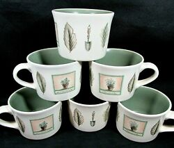Pfaltzgraff Naturewood Herb Design Short Mug Coffee Cup Lot Of Six Made In Usa