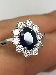 18ct White Gold 2.31ct Diamonds And Oval Blue Sapphire Cluster Ring Goy1149