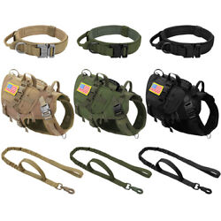 Military Tactical K9 Dog Harness And Leash And Collar Molle Training Vest And Pouches