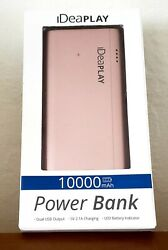 Ideaplay 10000mah External Battery Power Bank Portable Charge Rose Gold