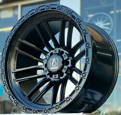 4 New 22x12 Axe Icarus -44 Black 6x5.5 6x135 6x139.7 Chevy Ford Gmc