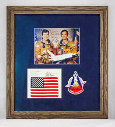 Sts-1 Framed Flown Flag, Crew Signed Photo, Astronaut Patch, John Young, Zarelli
