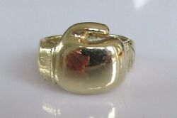 9ct Gold Ring - 9ct Yellow Gold Boxing Glove 24.6g Signet Ring Size V 1/2
